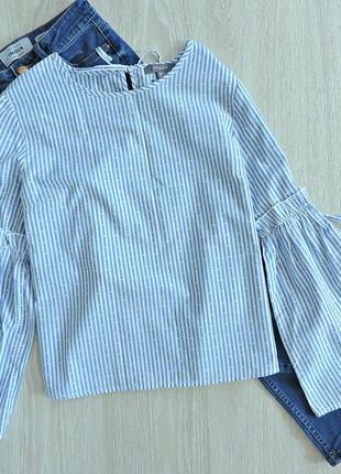 Лёгкая хлопковая блуза с рукавами - клёш
