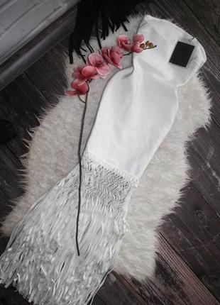 Премиум коллецие бандажное молочное платье с бахромой2 фото