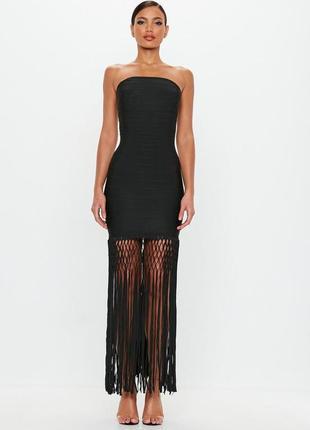 Премиум коллецкия. бандажное черное платье с бахромой