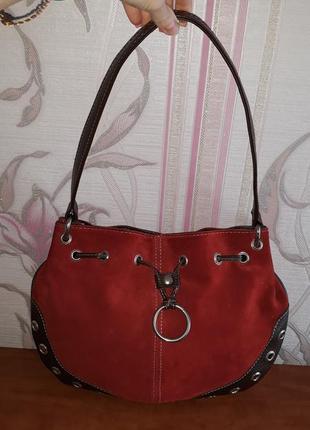 Шикарная красная сумка из натур замши
