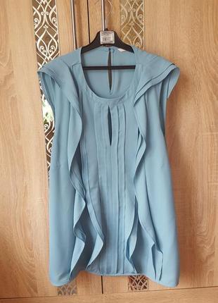Нарядная блуза нежно мятного цвета с воланами (большой размер)