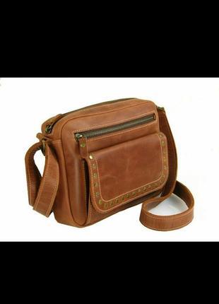 Кожаная коричневая рыжая женская сумка через плечо