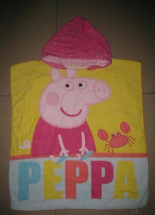 Детское банное, пляжное полотенце - пончо свинка пеппа на 1-4года
