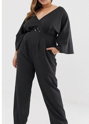 Стильный комбинезон с брюками asos в базовом черном цвете