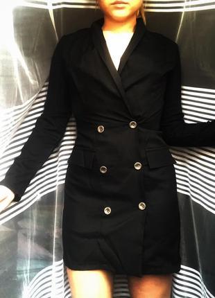 Платье-пиджак с пуговицами на запах