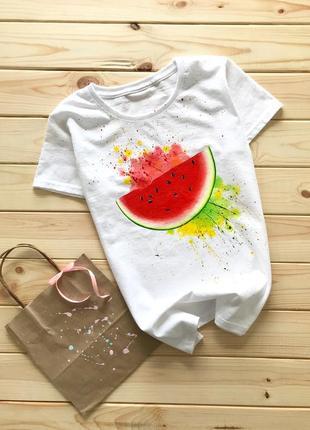 Handmade 🎨 біла футболочка з кавунчиком🍉 всі розміра .3 фото