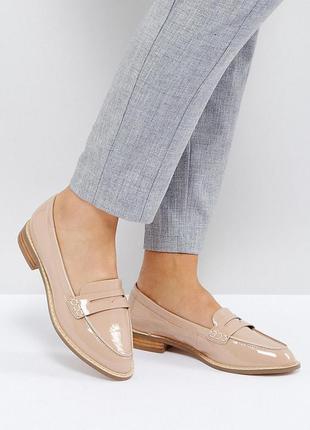 Пудровые лаковые туфли лоферы балетки асос asos