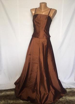 Скидка! выпускное нарядное раздельное платье\корсет с юбкой в пол\перламутровый отлив