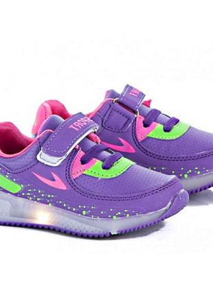 Модные кроссовки для девочек на светящейся подошве