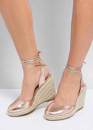 Эспадрильи туфли босоножки на плетеной платформе с завязками асос asos