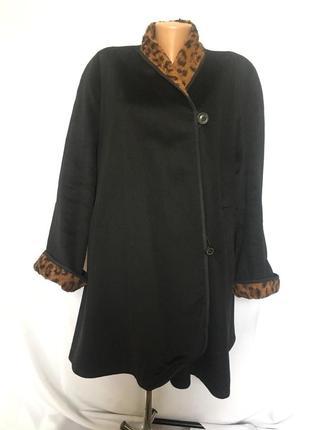 Двухстороннее теплое пальто манто принт леопард большой 60 размер\1+1=3
