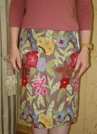 Стильная юбка карандаш принт цветы