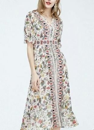 Платье шифон этно стиль вышивка vero moda