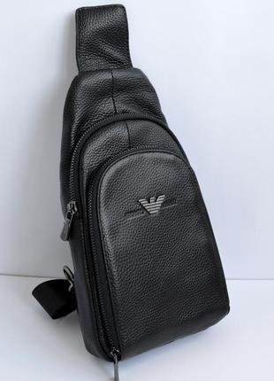 Модная мужская кожаная сумка слинг через плечо на два отдела