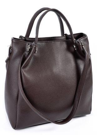 Коричневая сумка шоппер с комбинированными ручками на плечо