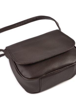 Коричневая молодежная сумка через плечо кросс боди с клапаном