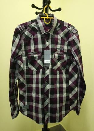 Фиолетовая хлопковая рубашка в клетку от burton