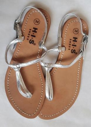 Босоножки сандалии кожа h.i.s shoes