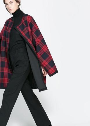 Шикарное красное кейп / пальто в клетку zara studio, размер м