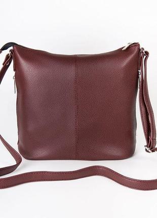 Бордовая молодежная сумка через плечо на молнии