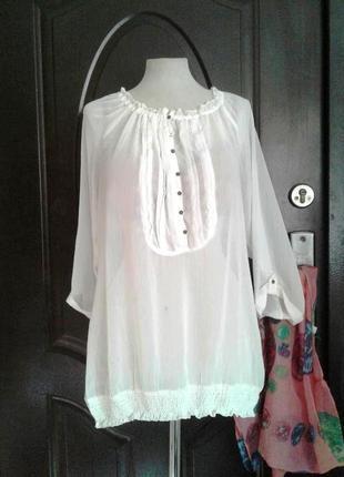 Белая шифоновая блузка,xl.