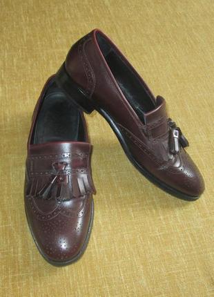 Scarosso италия кожаные туфли мокасины лоферы с кисточками р. 41 - 41.5