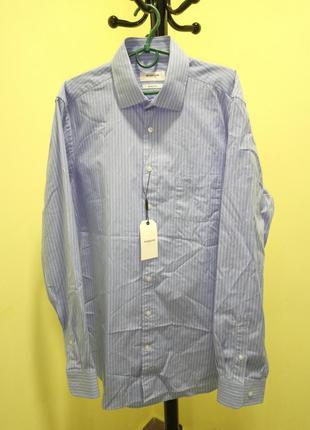 Хлопковая голубая рубашка в тонкую белую полоску mcgregor