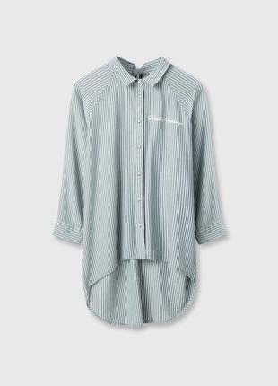 Cветло-зеленая рубашка блузка в полоску ostin2 фото