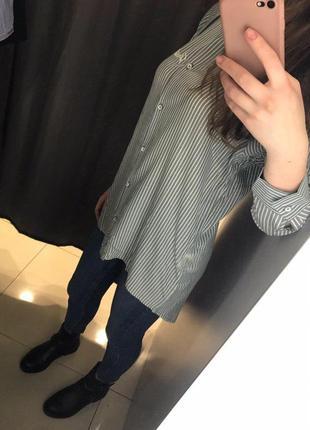 Cветло-зеленая рубашка блузка в полоску ostin5 фото