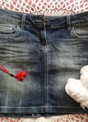 Джинсовая мини юбка miss poem синяя короткая юбка