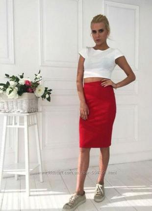 Трикотажная юбка-карандаш красная5 фото