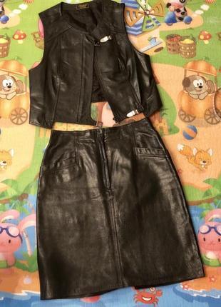 Кожаный комплект. костюм кожаный . кожаная юбка