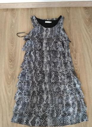 Шифоновое платье миди принт расцветка змея рептилия