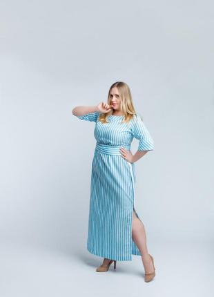 Элегантное платье в бело-голубую полоску2 фото