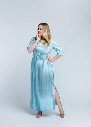 Элегантное платье в бело-голубую полоску4 фото