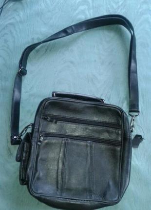 Черная мужская сумка /барсетка на 2х ручках.