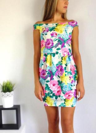 Платье на плечи в цветочный принт пионы, платье на лето флорал принт new look 8 (s)