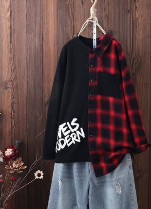 Оригинальный свитшот рубашка свободного кроя оверсайз