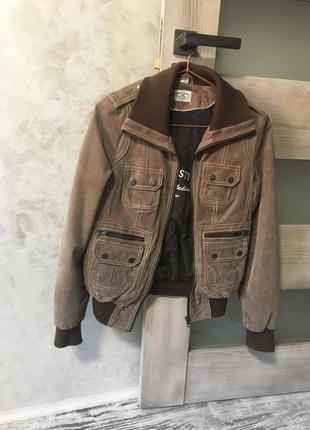 Кожаная коричневая куртка р.xs-s (34-36) tom tailor