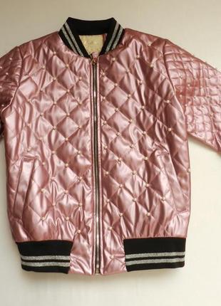 💣 классная куртка с жемчугом розовое серебро