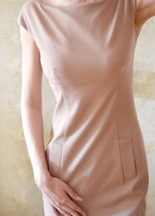 Нюдовое платье-футляр от кутюр gio' guerreri, италия, оригинал