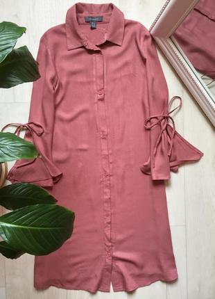 Платье рубашка трапеция с рюшами на рукавах пудрового цвета primark