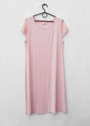 Розовая трикотажная ночнушка ночная сорочка с кружевом из вискозы