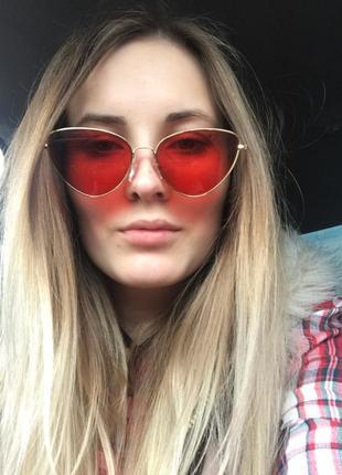Солнцезащитные очки ретро винтаж кошачий глаз красные, розовые3 фото