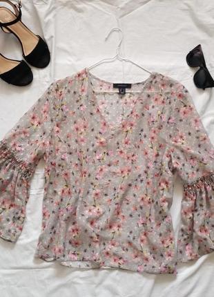 Блуза в цветочный принт с широкими рукавами atmosphere