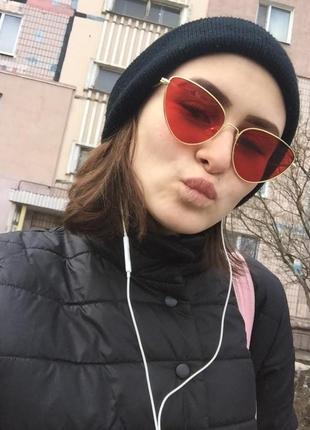 Солнцезащитные очки ретро винтаж кошачий глаз красные, розовые9 фото