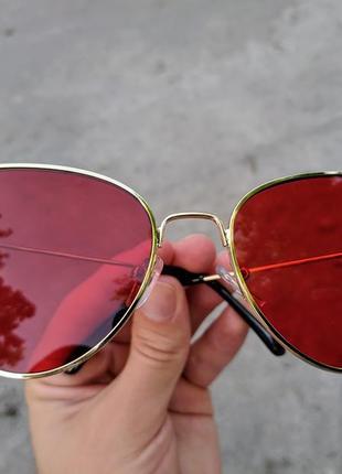 Солнцезащитные очки ретро винтаж кошачий глаз красные, розовые10 фото