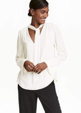 Белая блуза с бантом, s, m-l