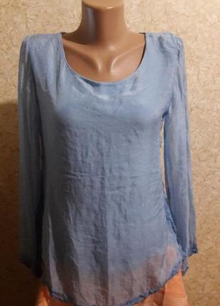 Воздушная голубая футболка с гипюровой спинкой