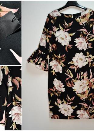 Шикарное ровное платье в цветы